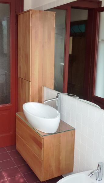 mobile bagno appeso in legno di pero francese