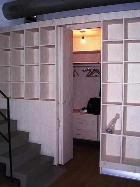 cabina armadio con libreria esterna in abete listellare sbiancato ...