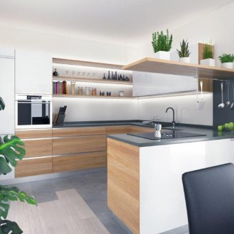 cucina rovere e vetro